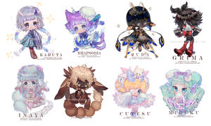 Painted Chibis comm batch by Krawark