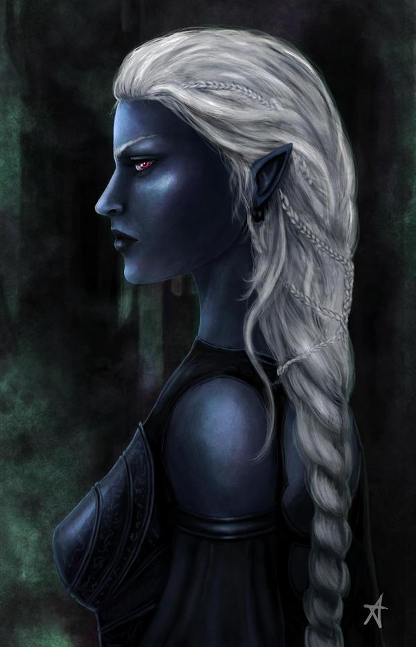 Drow priestess by Aerenwyn