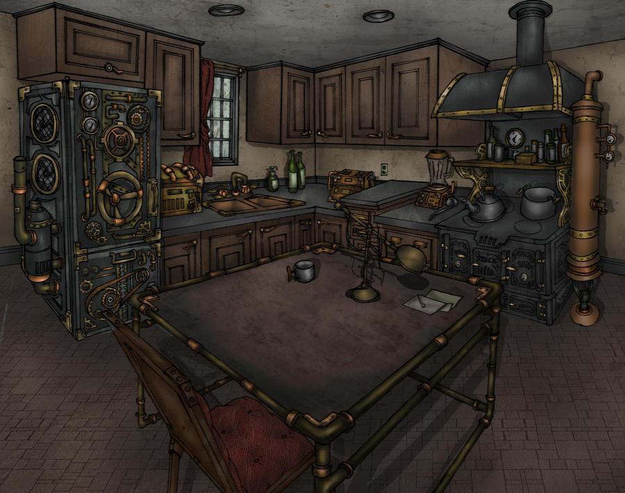 Steampunk kitchen by hitsukei on deviantart for Kitchen designs steampunk