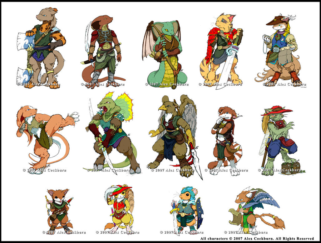D D Character Design : Db dnd character lineup by o kemono on deviantart