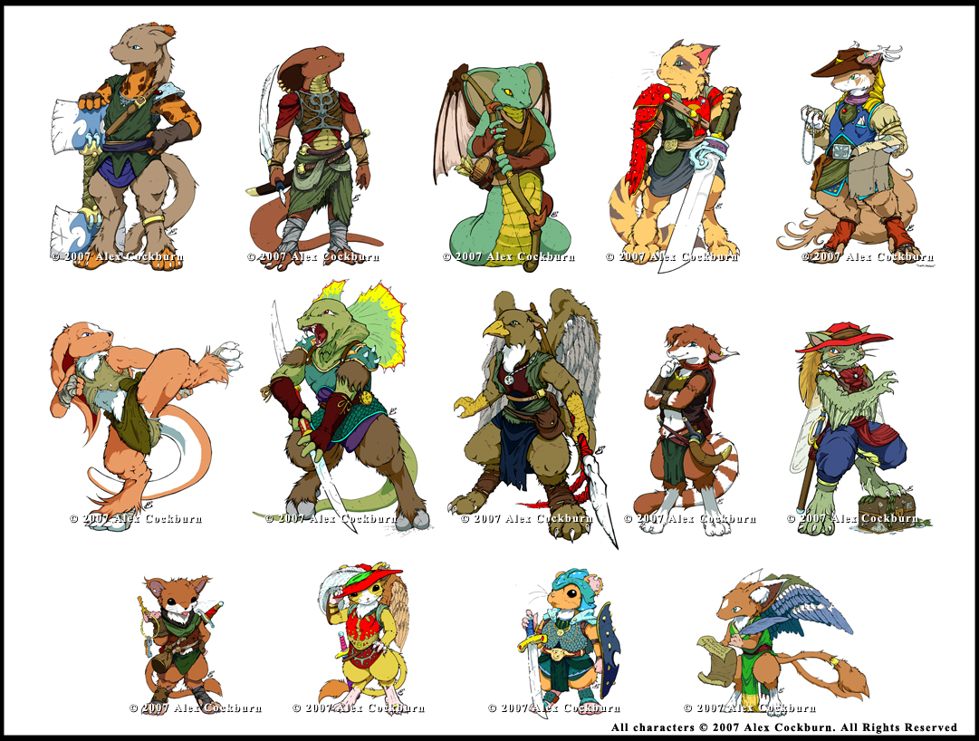 Character Design D D : Db dnd character lineup by o kemono on deviantart
