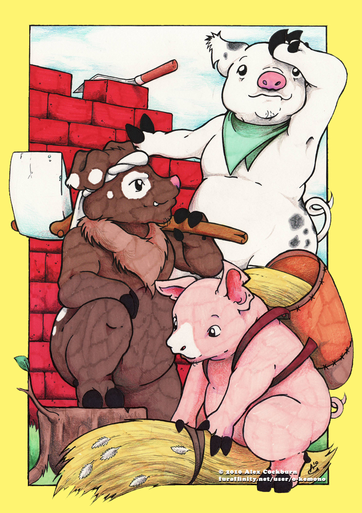 Three Little Pigs by o-kemono