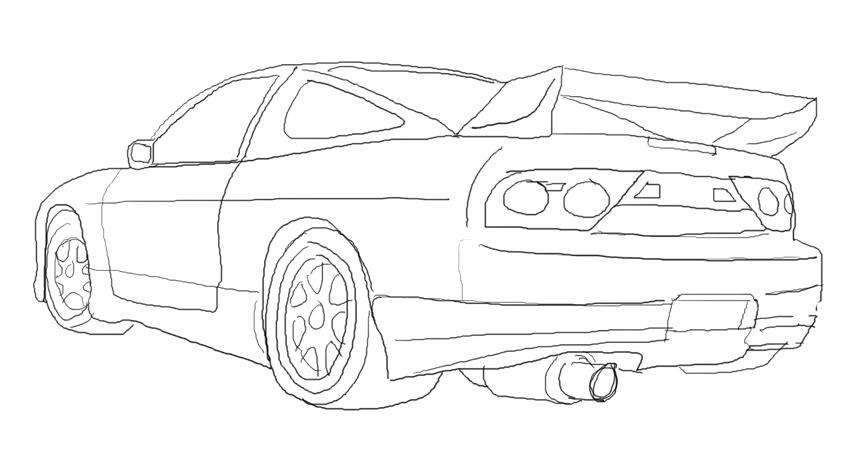 nissan 240sx drawings outline sketch coloring page
