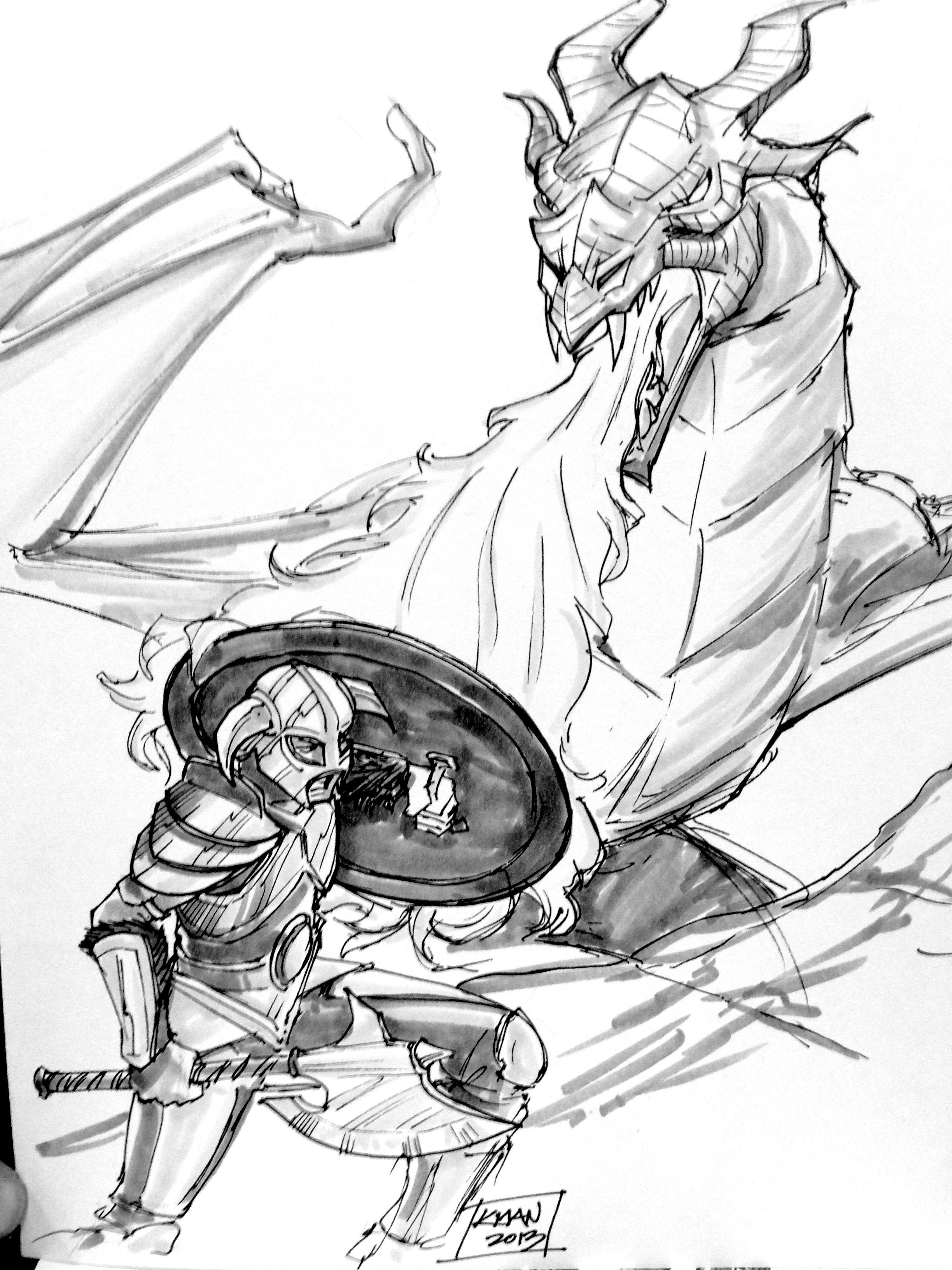 skyrim dragon fighting by kieronogorman on deviantart