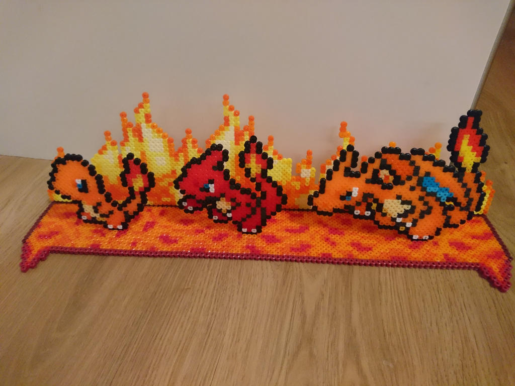 2D/3D Charmander+evolutions with background by MagicPearls