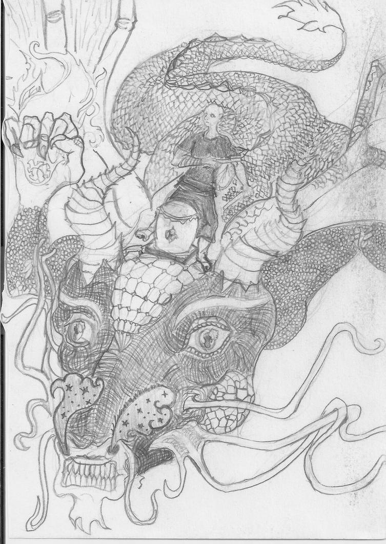 Riding Dragon with Taiko sketch by Mike-Le-Pearce