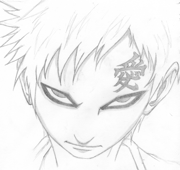 how to draw gaara easy