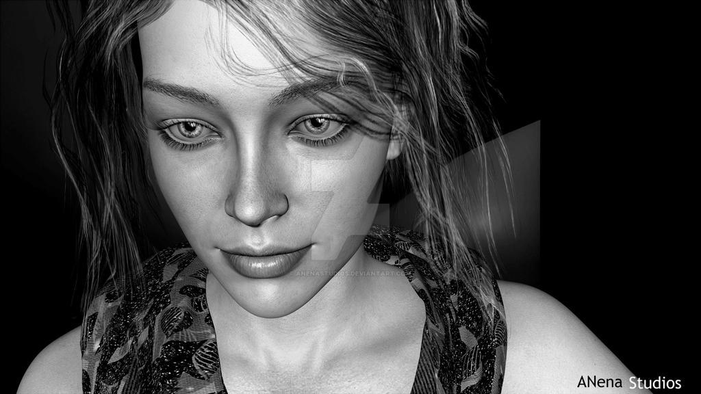 Alexia  Black and white 2 by Anena Studios by ANenaStudios