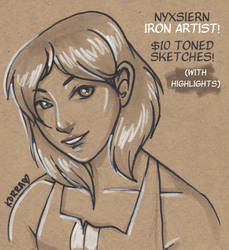 Iron Artist -- $10 Toned Paper Inks with Highlight by Nyxsiern