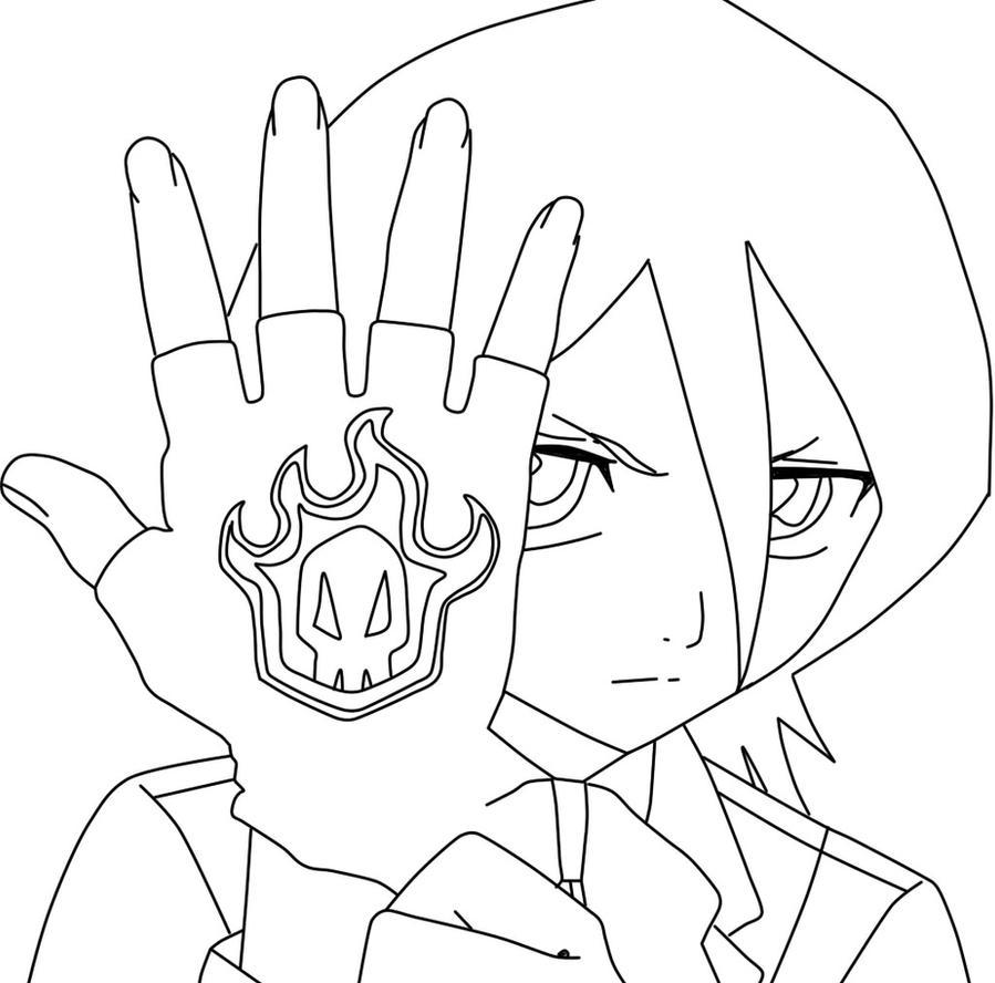 Kuchiki Rukia Lineart by hanautaNovin