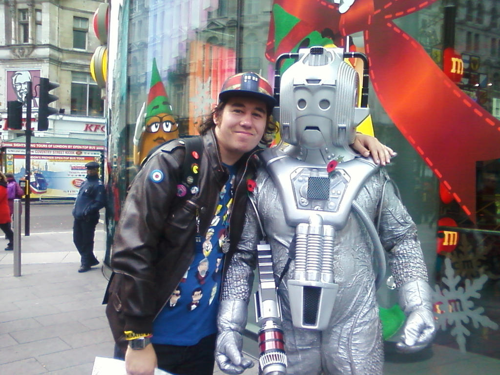 Me and 80's Doctor Who Cyberleader up London by DoctorWhoOne