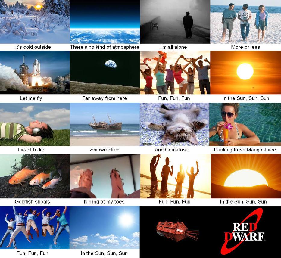 Red Dwarf lyrics with visual representation by DoctorWhoOne