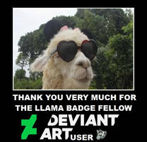 Thank you for the Llama Badge by DoctorWhoOne