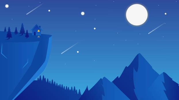 Mountain Space shooting Stars