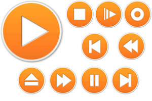 Media Player Icons - Orangehtt by datamouse