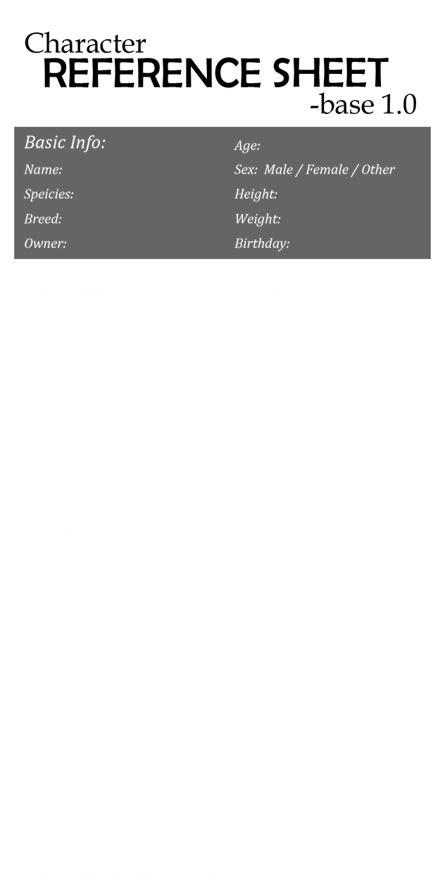 Character REFERENCE SHEET Base 1.0 By JeiDoll ...  Blank Reference Sheet
