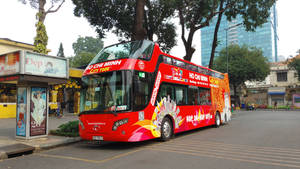 Double level Tour bus in Ho Chi Minh City