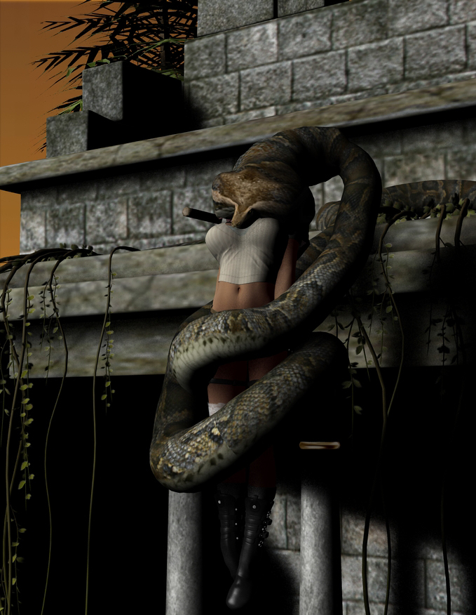 Scarlet Croft and Kaa 16 Night by swiftbladez