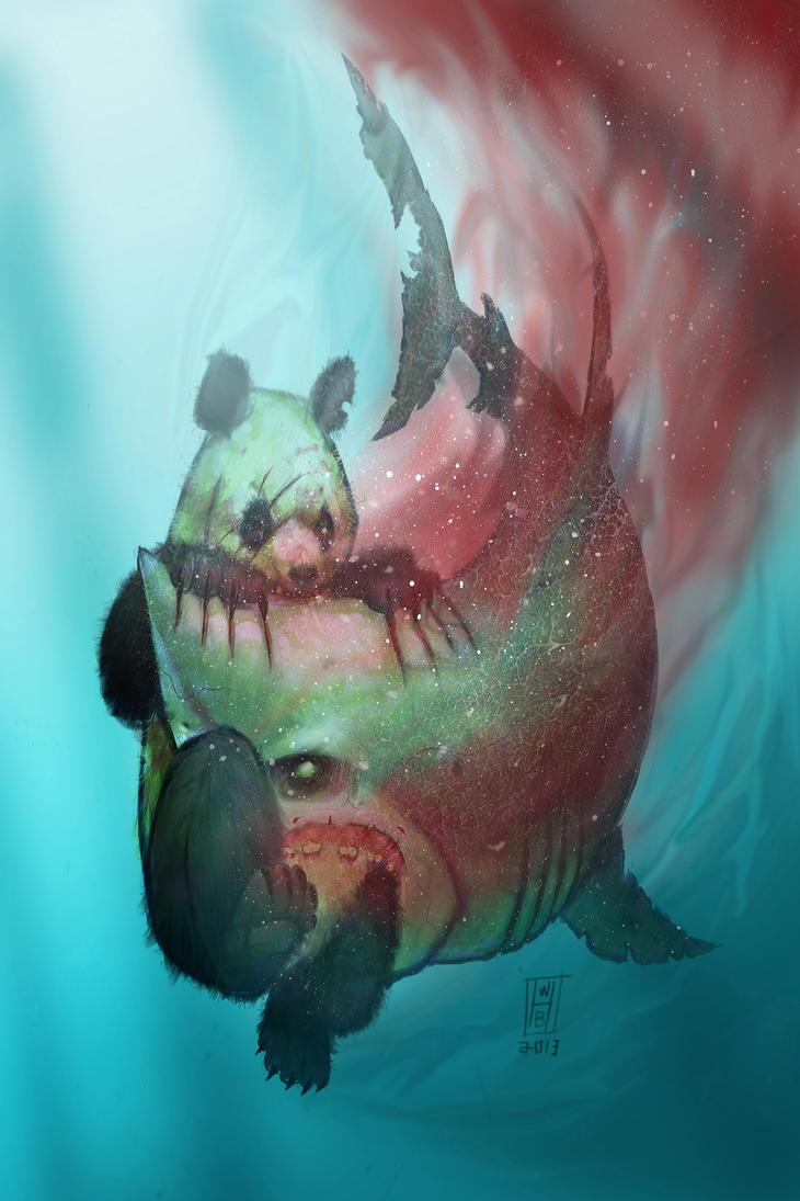 Zombiepandavszombiegreatwhitesharkbywilliamsquid Shark