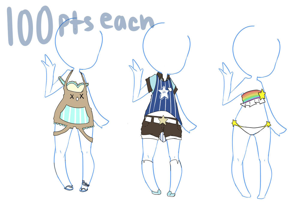 Summer Clothes Adopt OPEN 1 3 By Memeavatar