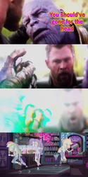 Thanos snaps his Finger at RD,RA and AJ by EarWaxKid