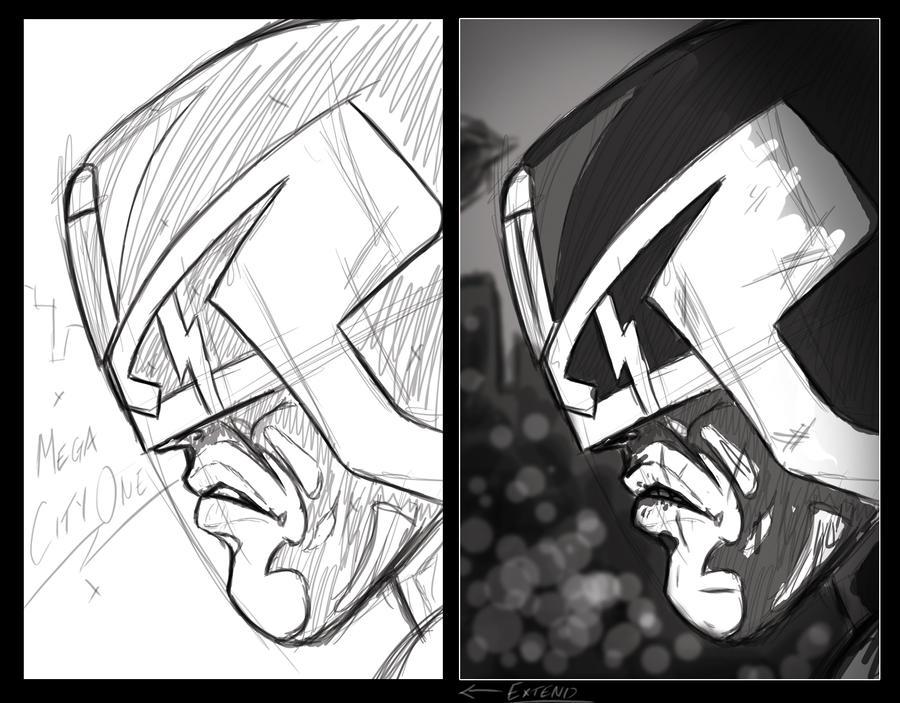 Dredd sketch and light concept by GrandMaster-J5