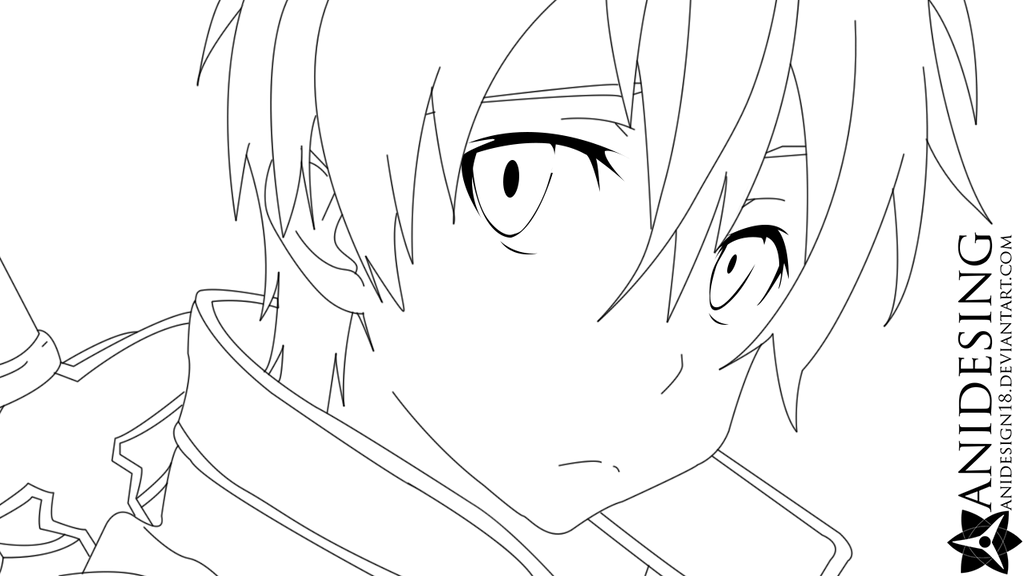 Kirito Lineart : Line art kirito by anidesign on deviantart