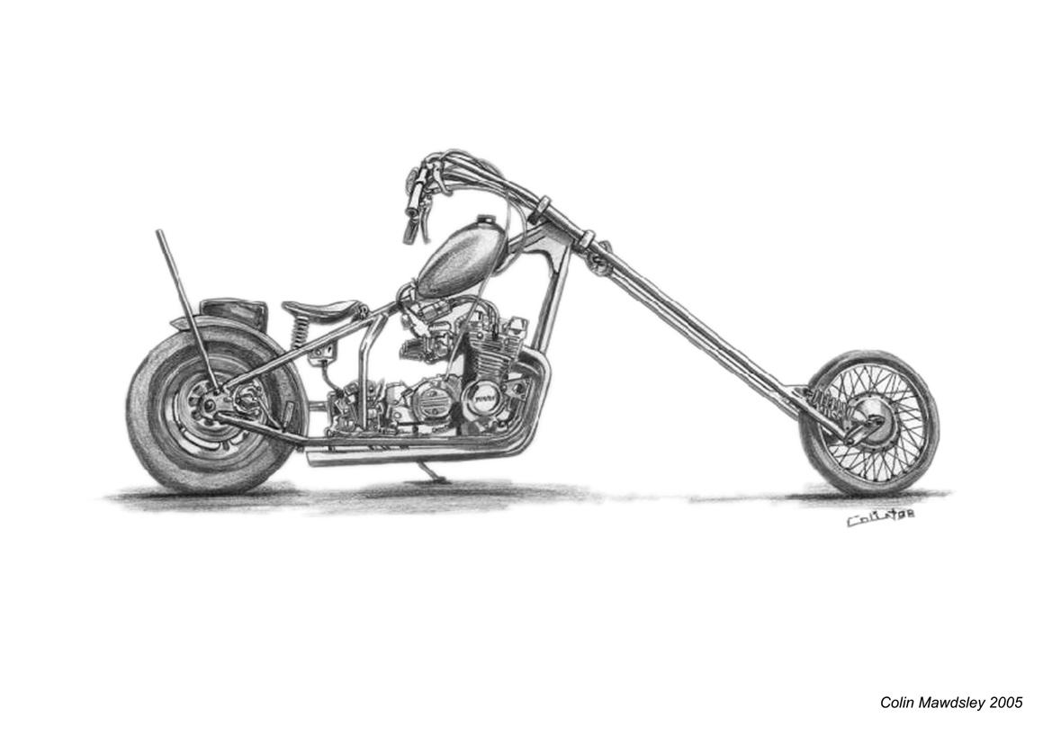 how to draw chopper motrbike