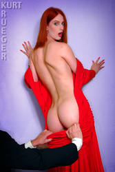 Lady With The Red Dress Off by KurtKrueger