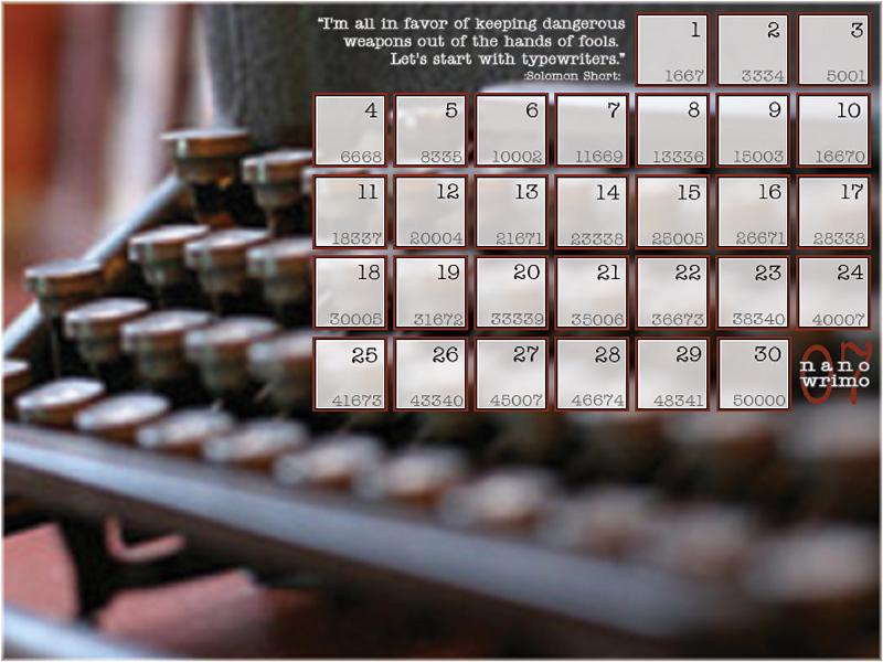 NaNoWriMo Calendar by Sapphpaw