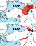 Comparison: Distribution of Armenians in 1900+2000