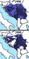 Comparison: Distribution of Serbs in 1900 + 2000