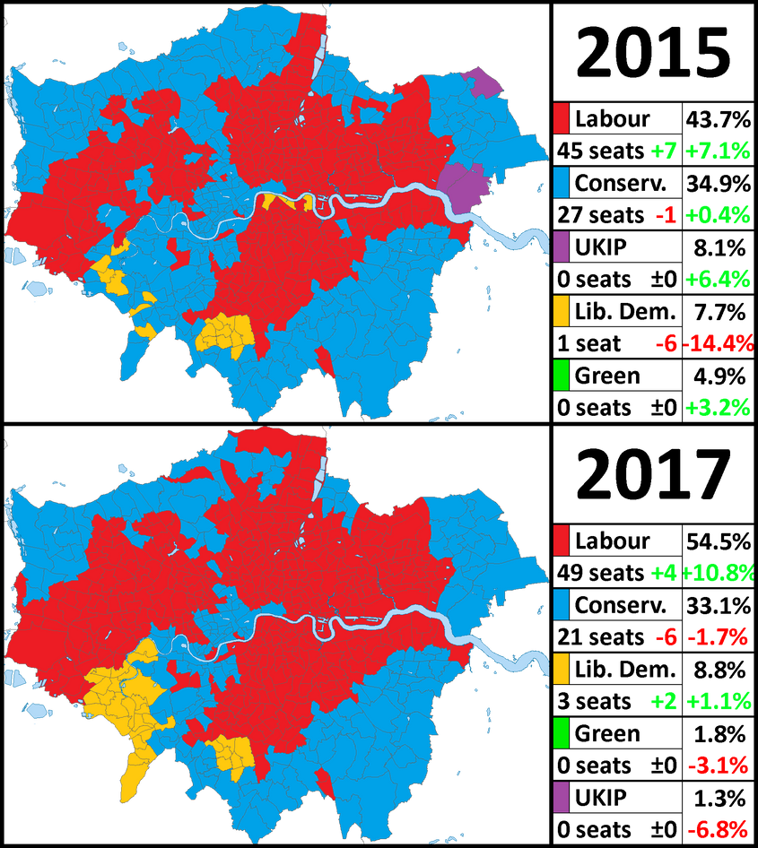 Map Of Uk General Election Results.London General Election Results 2015 And 2017 By Thumboy21 On