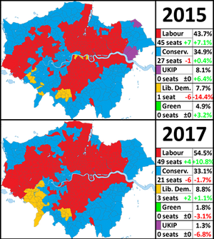 London General Election Results - 2015 and 2017