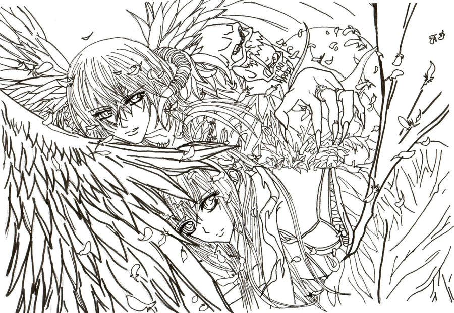 vampire knight fan art yuki and kaname uncolored