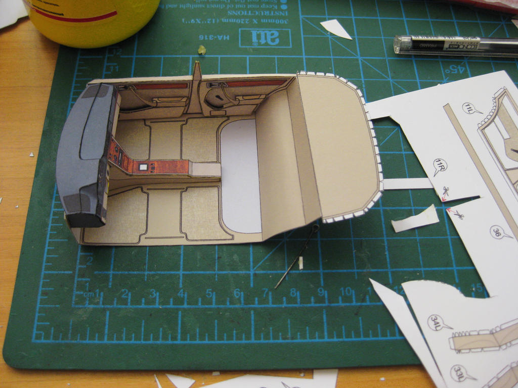 mercedes benz w124 paper interior in process by sulikgt on deviantart. Black Bedroom Furniture Sets. Home Design Ideas