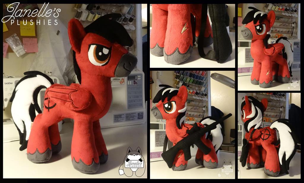 Muzzle Flash OC stallion plush by JanellesPlushies