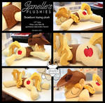 Sleeping Braeburn plushie with hat and vest