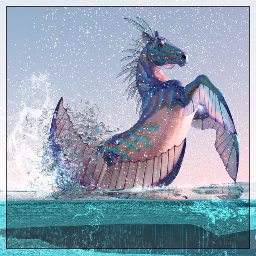 Heraldic seahorse by FreyrStrongart