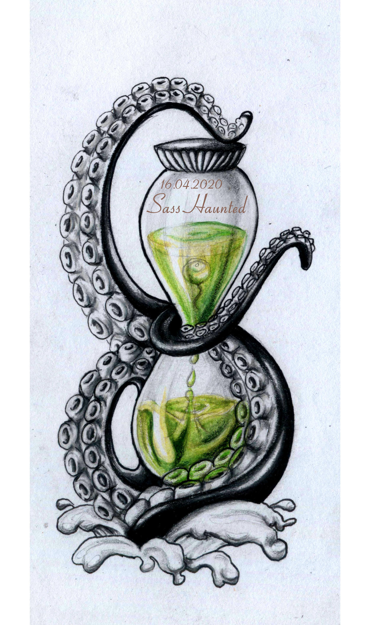 Cthulu Hourglass - Tattoo Design