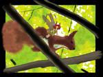 Fairy riding a squirrel by floflo