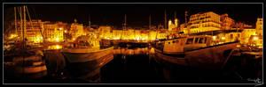 Bastia's port at night