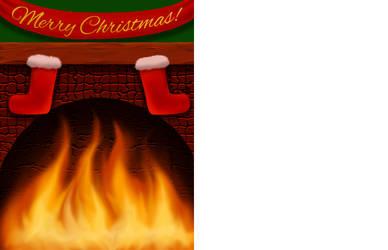 Customizable Fireplace Christmas Card by StephOBrien