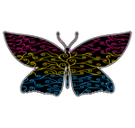 Swirls and Silk - Pansexual Flag Butterfly