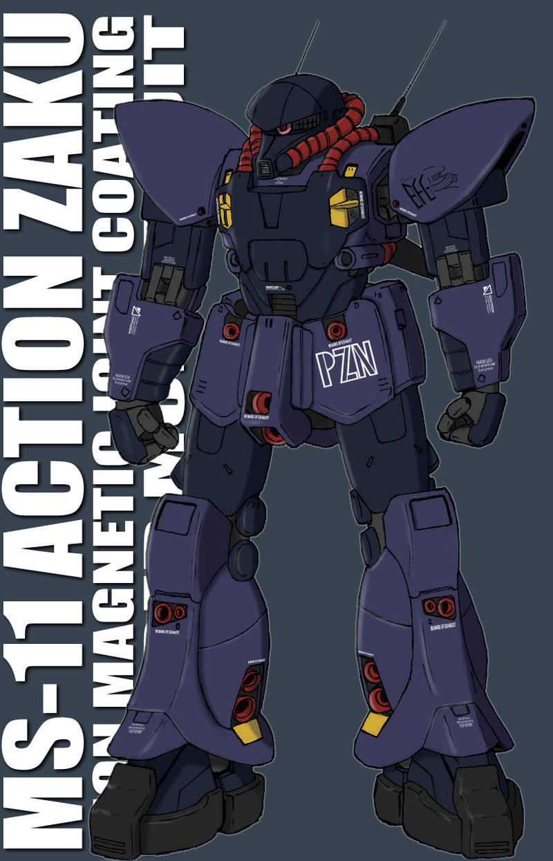 One Line Text Art 9 11 : Ms action zaku coloured by twtmaster on deviantart