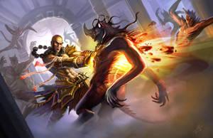 Fiery Fury of the Monk by DreadJim