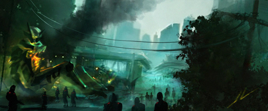Traffic Chaos amidst the crashed Alien Craft by DreadJim