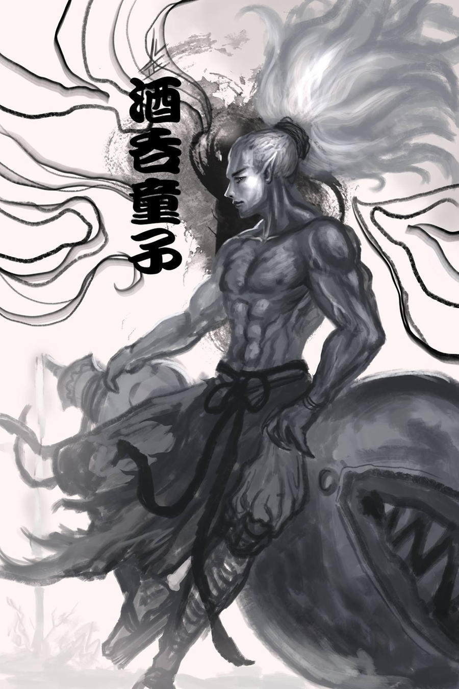 Onmyoshi Fanart Portrait: Drunkard Demon Boy by DreadJim