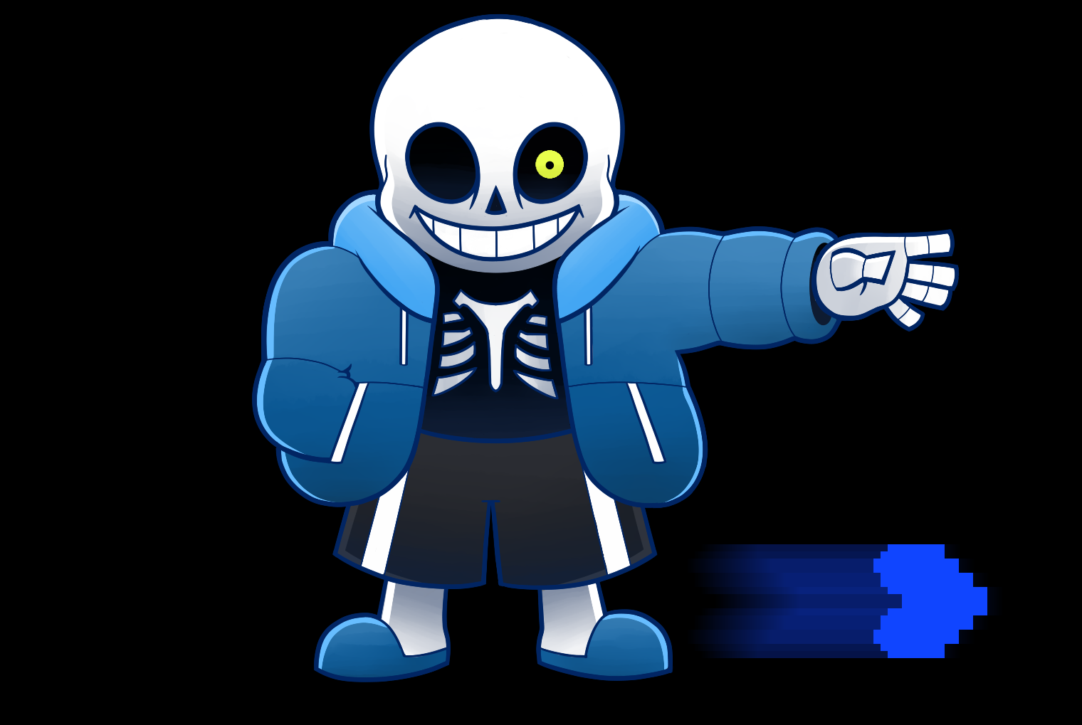 how to draw sans glowing hand