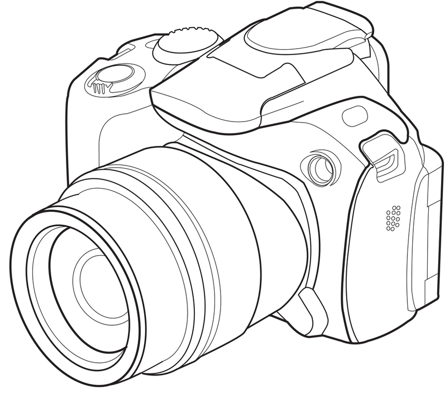 Line Art Camera : Camera drawing sketch coloring page